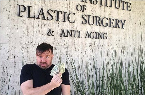 "Ricky Gervais tweets funny pic of his ""plastic surgery visit."""