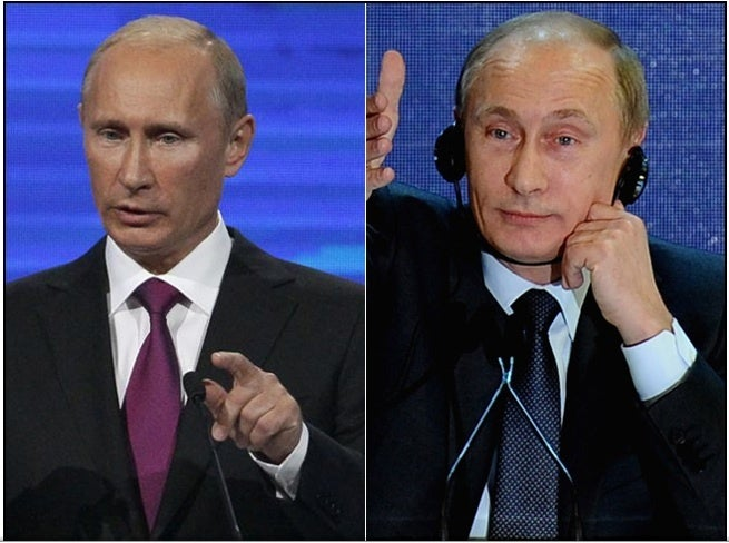 Putin's face now 2011 and Putin's face last year 2010
