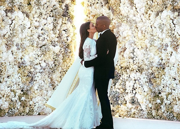 Kim Kardashian looked beautiful on her wedding day with new husband Kanye West
