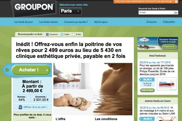 Groupon breast implants Paris