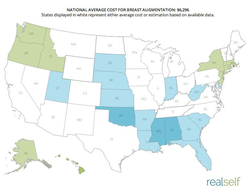 Plastic surgery costs in America: Breast augmentation prices are more competitive in the south!