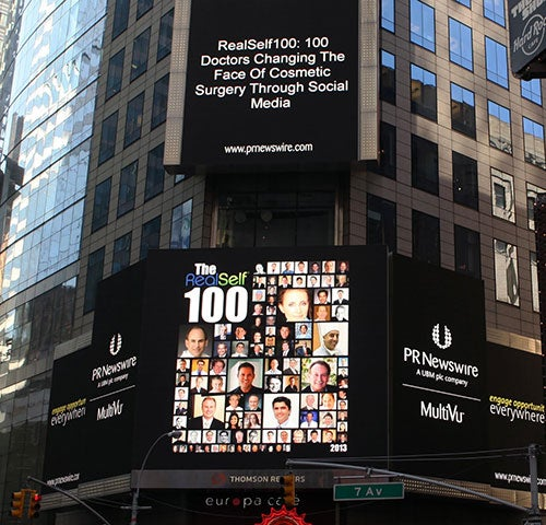 The RealSelf 100 in Times Square!