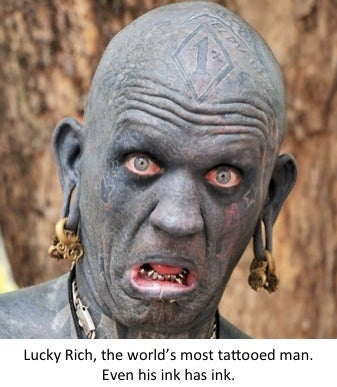 Lucky Rich most tattooed man