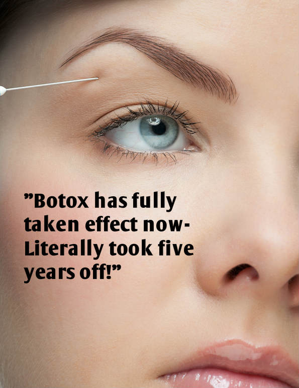 woman getting botox arched eyebrows